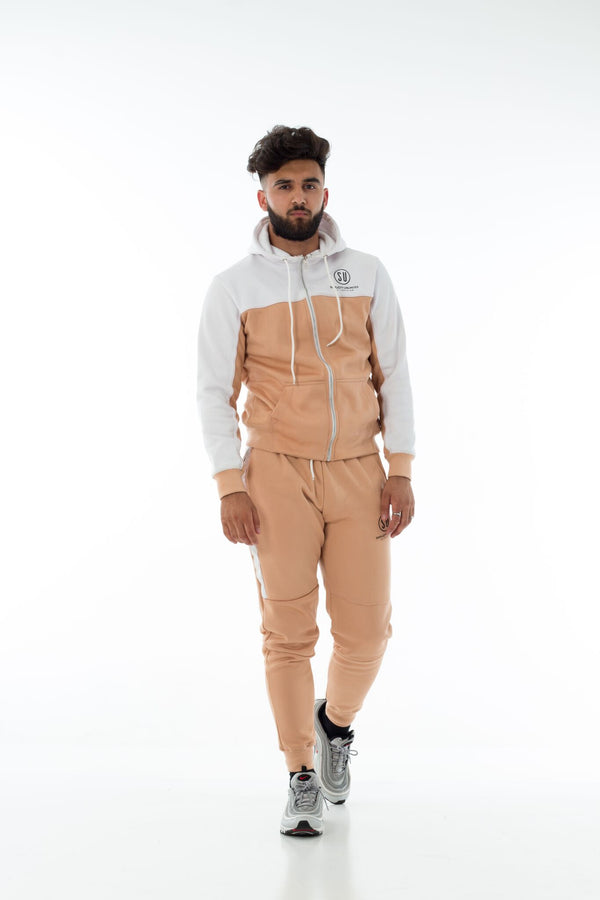 White / Tan Simplicity Tech tracksuit (Full)