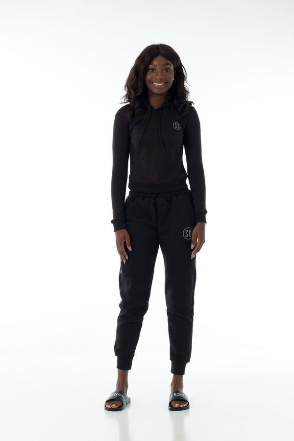 Black Women's Simplicity Tech Cropped Hoodie