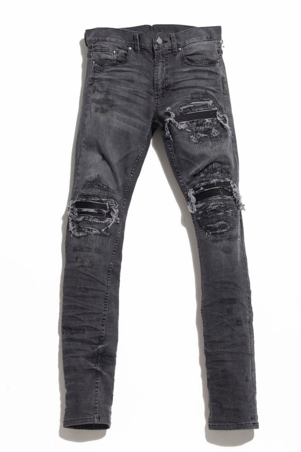Grey Distressed Biker Jeans