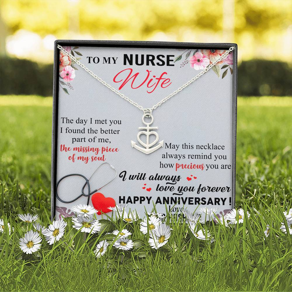To My Nurse Wife Anchor Anniversary Necklace