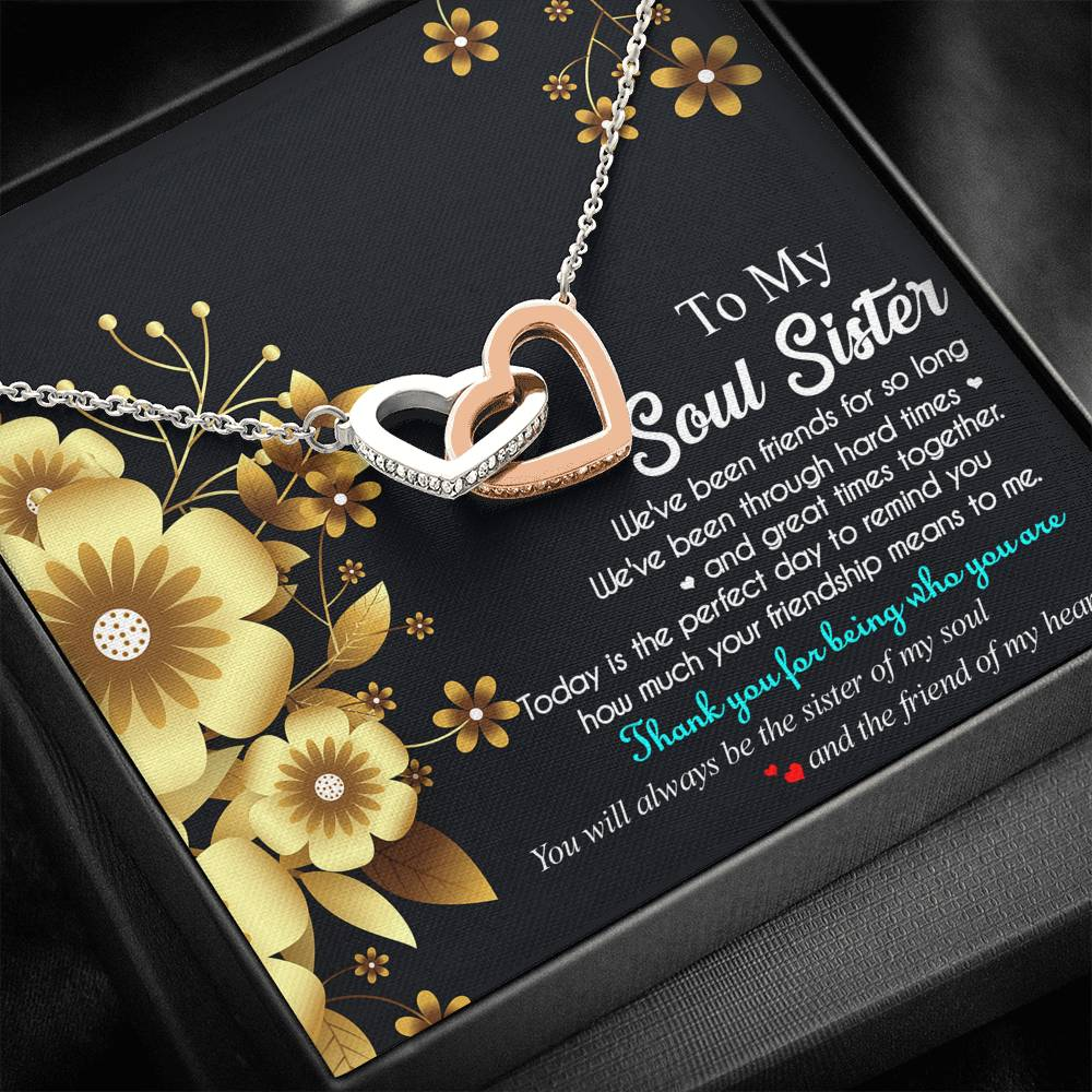 Soul Sister Appreciation Interlocking Heart Necklace
