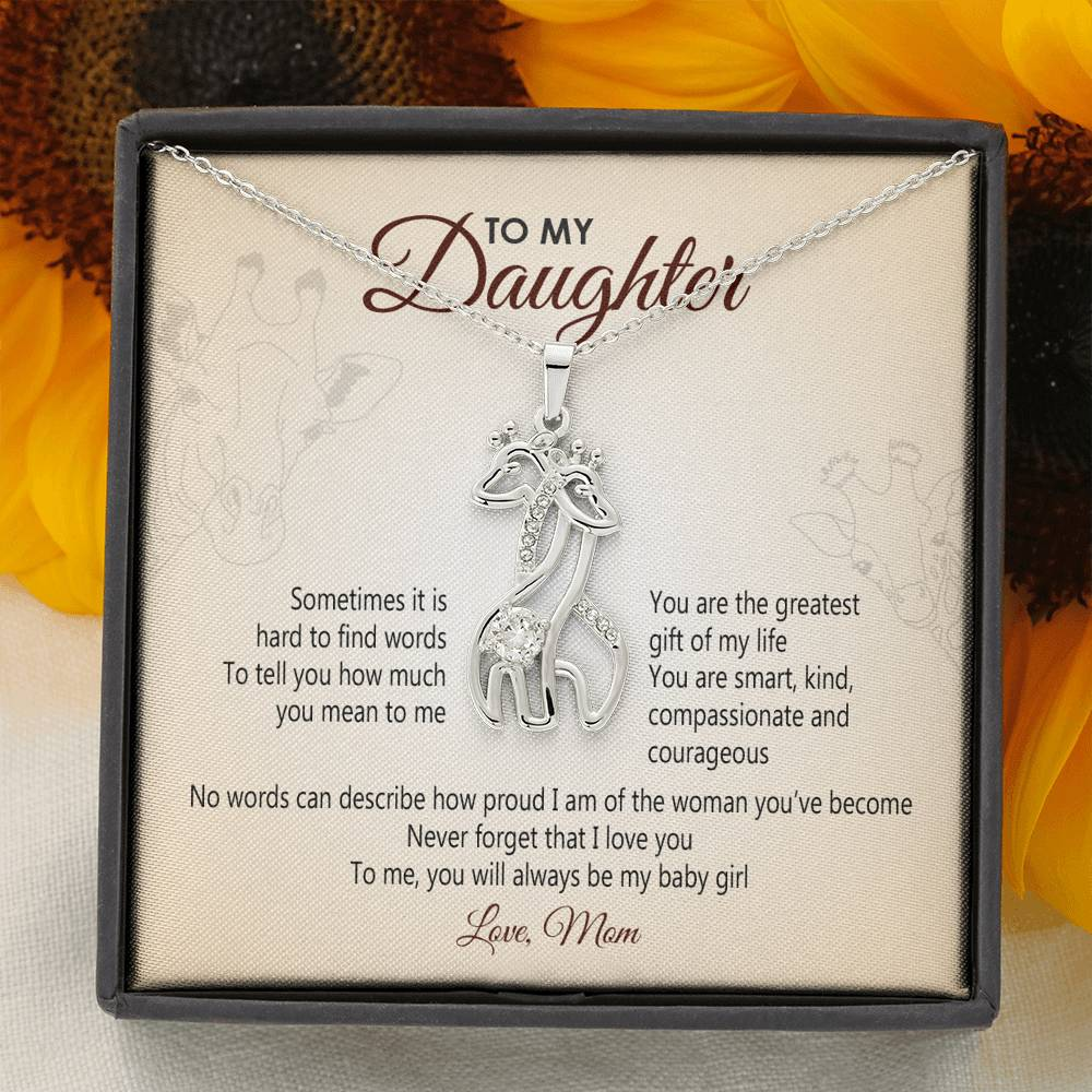 To My Daughter - Never Forget That I Love You Giraffe Necklace