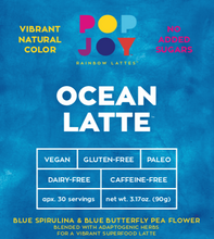 Ocean Latte - POPJOY, blue spirulina, pink pitaya, activated charcoal, rainbow latte, vegan, vegan recipes