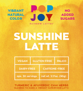 Sunshine Latte - POPJOY, blue spirulina, pink pitaya, activated charcoal, rainbow latte, vegan, vegan recipes