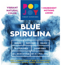 Blue Spirulina - POPJOY, blue spirulina powder, pink pitaya, activated charcoal, rainbow latte, vegan, vegan recipes