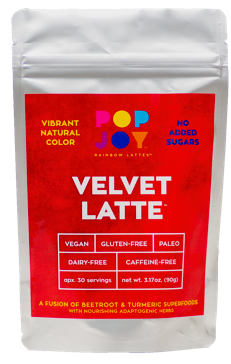 Velvet Latte - POPJOY, blue spirulina, pink pitaya, activated charcoal, rainbow latte, vegan, vegan recipes