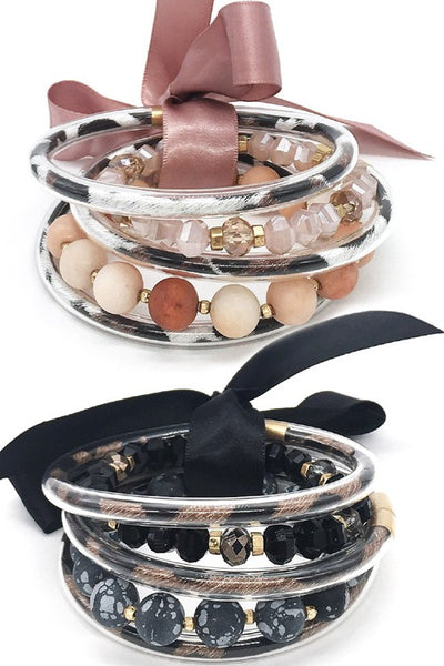 Five band jelly and stone bracelets