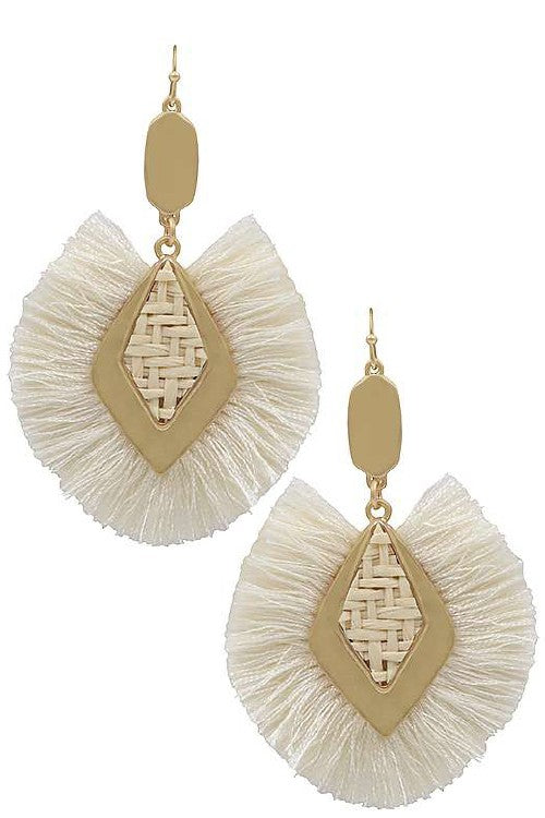 Diamond shape raffia tassel earrings