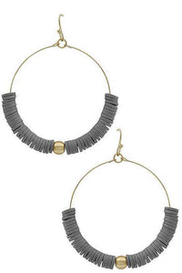 Gray metal hoop earrings