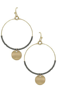 Hoop beaded round disk earrings