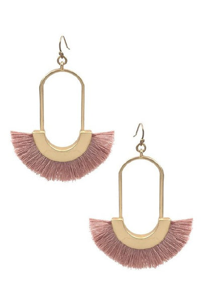 Oval shape tassel earrings