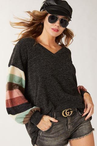 Multi color puff sleeve sweater