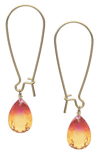 Teardrop glass crystal earrings