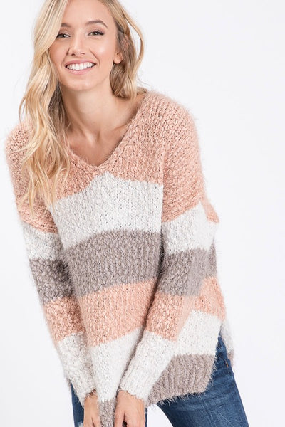 Multi color stripe popcorn sweater