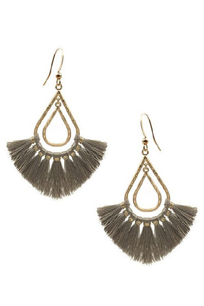 Hammered double layer teardrop tassel earrings