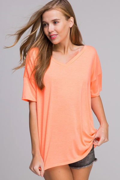 Vneck top with criss cross back detail