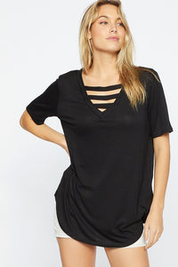 Jersey knit v-neck top