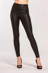 Black snakeskin embossed leggings