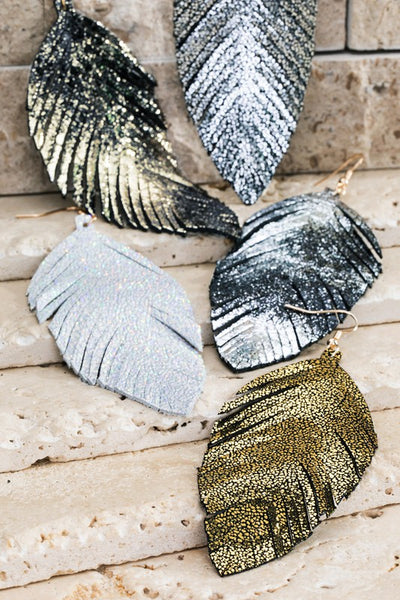 Gold glittery leaf earring