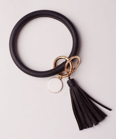 Faux leather O ring bracelet keychains
