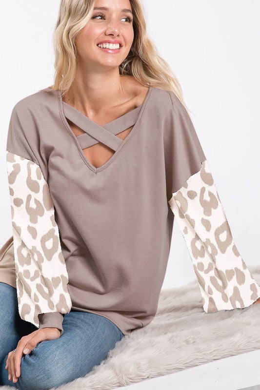 Taupe leopard puff sleeves
