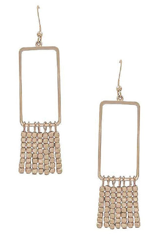 Rose gold rectangle earrings