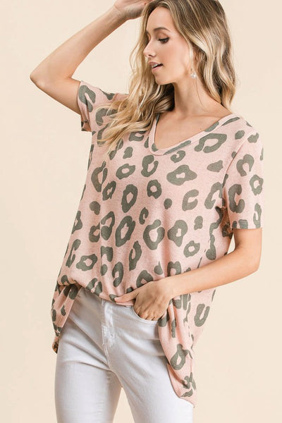 Blush Leopard print top