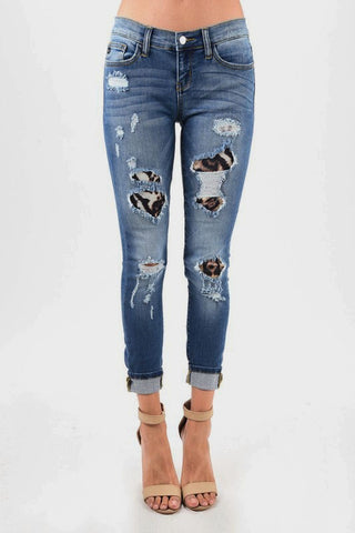 Leopard patch distressed jeans