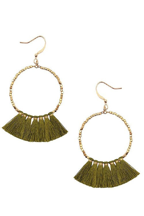Olive gold beaded tassel earrings