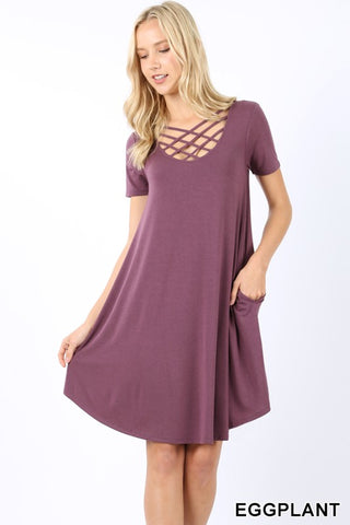 Short sleeve criss cross dress