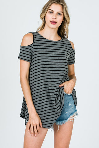 Stripe Cold shoulder top with back detail