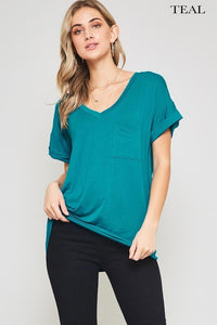 Short sleeve solid pocket top