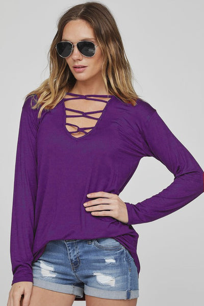 Caged V-neck long sleeve knit top