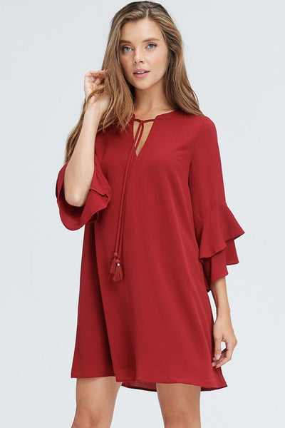 Flutter sleeve tassel dress