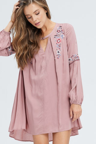 Embroidered Keyhole dress