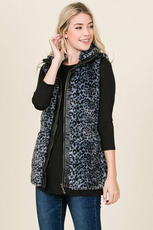 Faux animal print fur vest