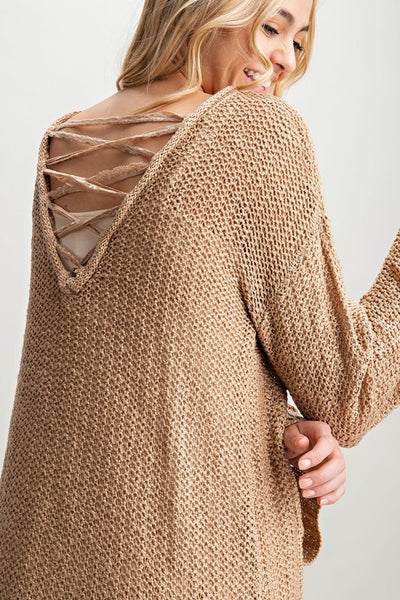 Back Lace criss cross knit sweater