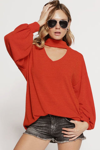Sweater knit top with puff sleeves