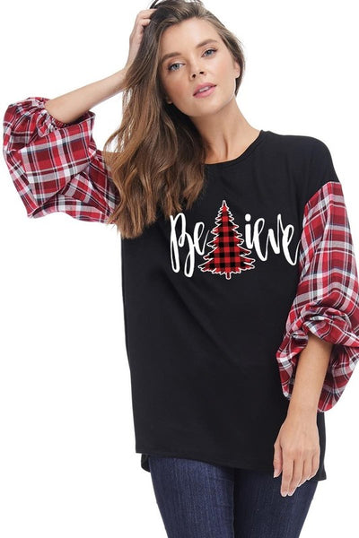 Believe plaid top