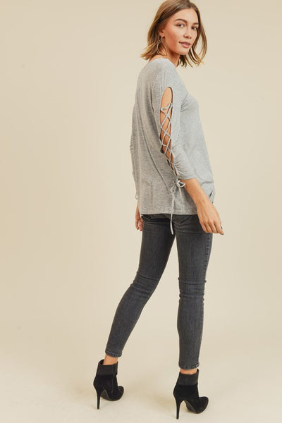 Gray lace up sleeve top