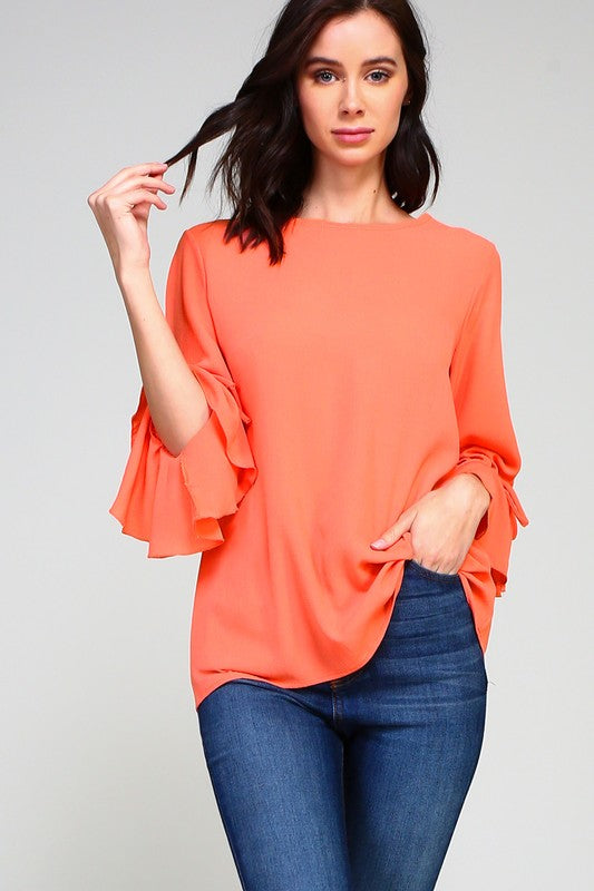 Ruffle sleeve with tie blouse
