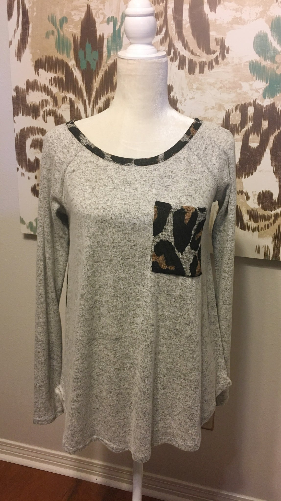 Heather Gray top with animal print detail