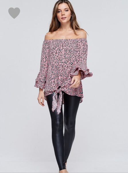 Off the shoulder cheetah print top