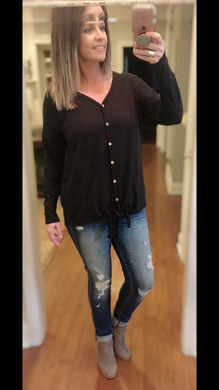 Black long sleeve top with knot detail