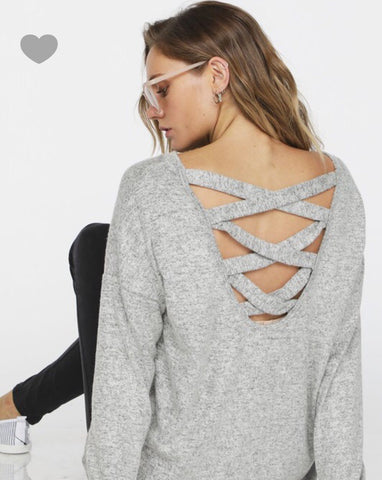 Brushed knit top w/ back crisscross detail