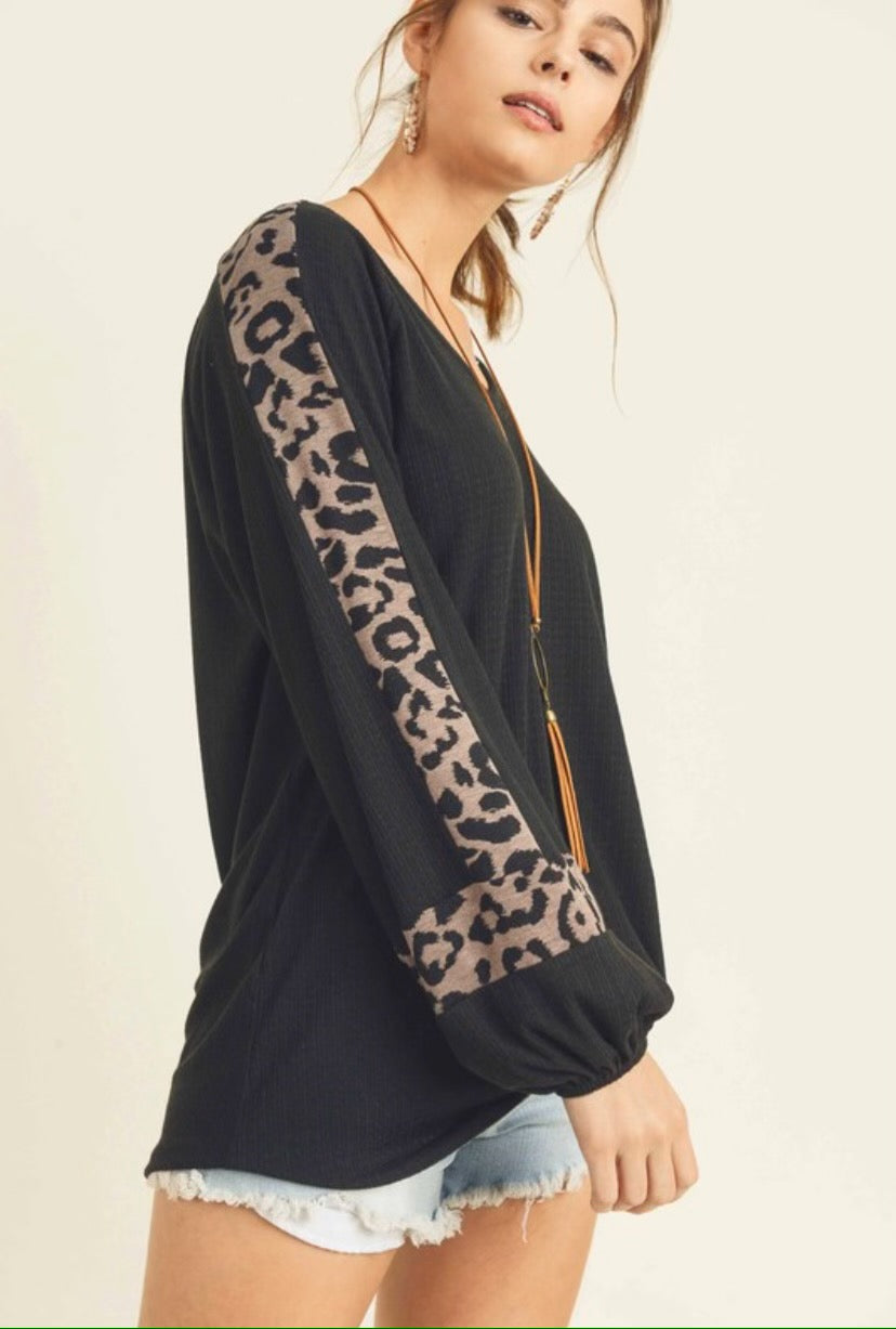 Black knit top with mocha leopard detail