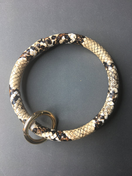 Faux leather bangle keychain