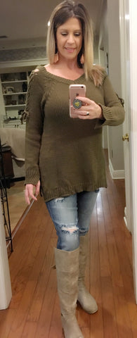 Olive green sweater w/lace up shoulder detail