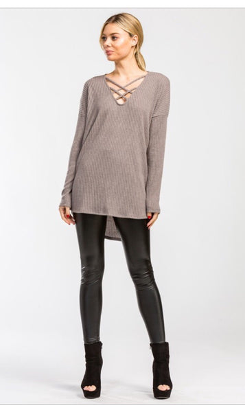 Knit sweater with crisscross detail