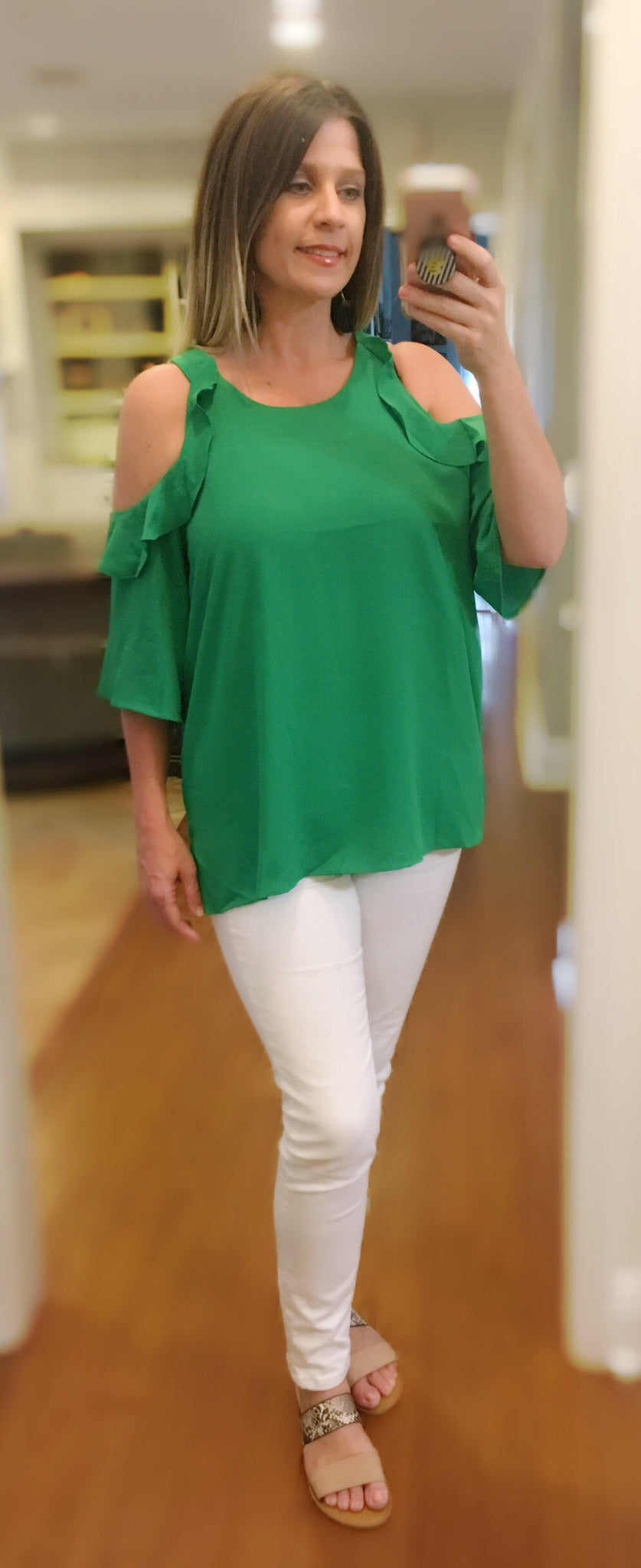 Green ruffle cold shoulder top